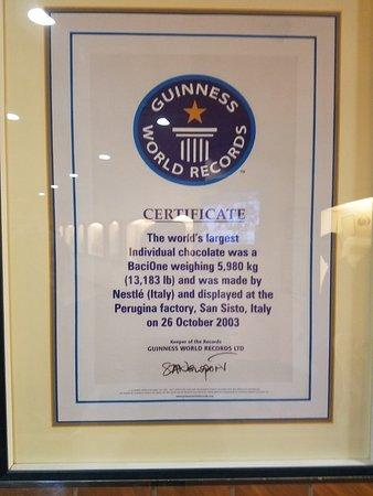 San Sisto, Itália: Guinness certificate