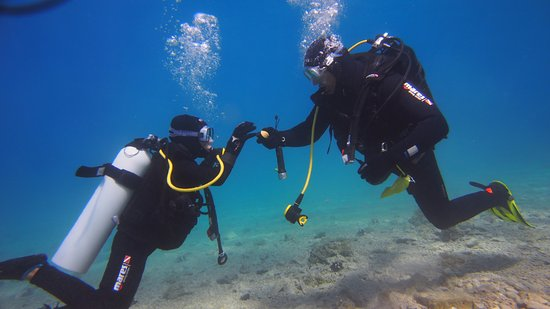 Brela, Kroatien: Father and son dive