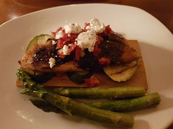 Mitchell's Fish Market: Blackened Tilapia with TUSCAN GRILLED VEGETABLES balsamic glaze, goat cheese