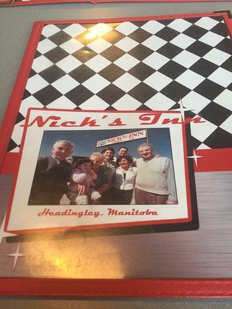 Menu cover, Nick's Inn,5400 Portage Avenue, Headingley, Manitoba