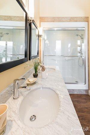 castlerock juniper ensuite w2 person jetted shower marble vanity soaker tub