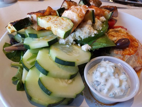 Zoes Kitchen Salmon Kabob salmon kabobs with hummus and cucumbers - picture of zoes kitchen