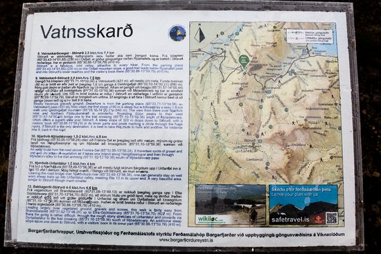 Borgarfjordur Eystri, Исландия: Trail map at the start of trail 9