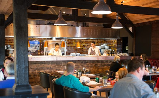 The open kitchen at The Akeman Inn, Kingswood. Situated on the A41 between Bicester and Aylesbur
