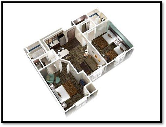 Staybridge Suites Chicago Oakbrook Terrace: 2-Bedroom 2-Bath Suite with Queen & Double Bedrooms