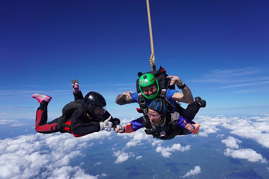 Orange, MA: tandem skydiving shot