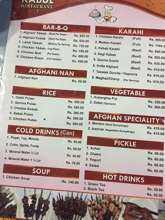 The Menu  Picture Of Kabul Restaurant Islamabad  Tripadvisor