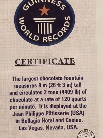 Bellagio Chocolate Fountain: The Guinness World Records certificate