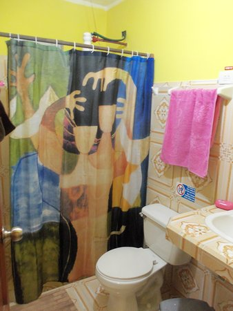 Funky shower curtain, beveled edges on everything - Picture of Casa ...