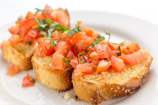 Bruschetta Crispy Italian Flat Bread With Fresh Plum Tomatoes Garlic Basil Virgin Olive Oil Picture Of La Stanza New York City Tripadvisor