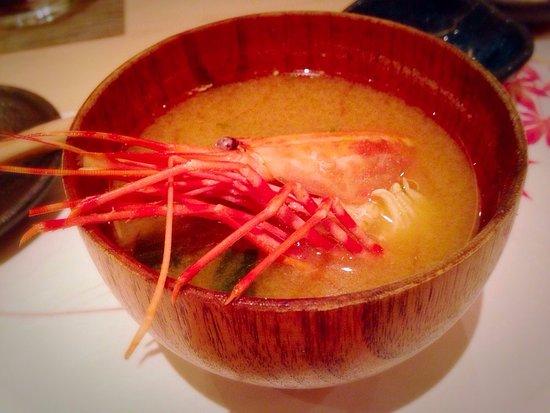 Miso soup with shrimp head.