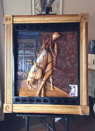 Krum, TX: Cool wood art by local artist. Permission to use photo of his work.