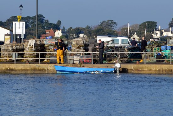 Highcliffe, UK: fisherman busy on the quay