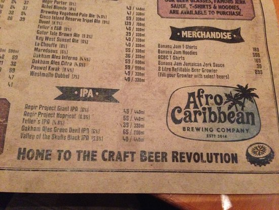 Kenilworth, South Africa: Beer Menu