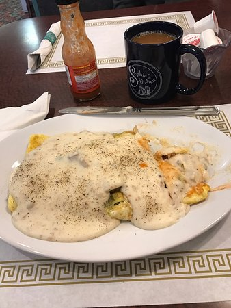 Grand Blanc, MI: My tweeted farmers omelette with sausage gravy!!!