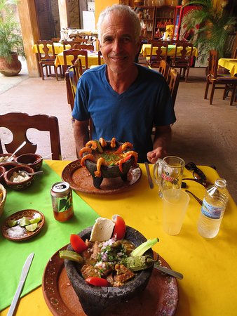 El Quelite, Mexico: Molcajetes: pork and prawn.  Beautiful, delicious, filling, and cheap!