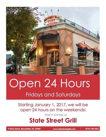 Bloomfield, NJ: Open 24 hours over the weekend