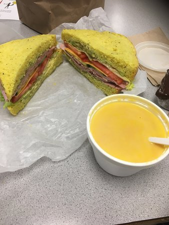 Mitchell's Cafe: Carrot ginger soup with a vegetarian sandwich with ham.