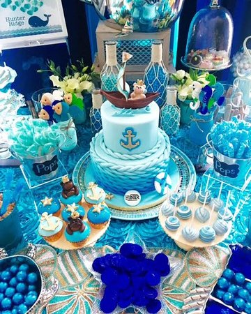 Pleasing Nautical Birthday Cake And Sweet Table Picture Of Cakestar Personalised Birthday Cards Veneteletsinfo