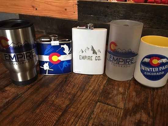 Designed in Empire, CO Mugs, Flasks, and travel mugs.