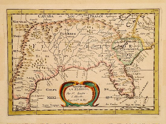 1657 Map of Southeast North America by Nicolas Sanson - Picture of ...