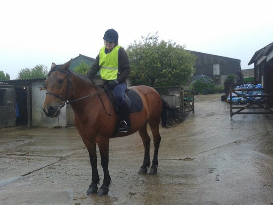 Camelford, UK: Carrie going out on a hack