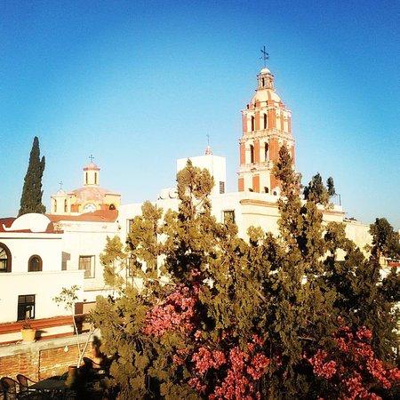 Hotel Villa del Villar: Vista del centro desde la terraza y se puede ver las numerosas flores qué hay en el hotel