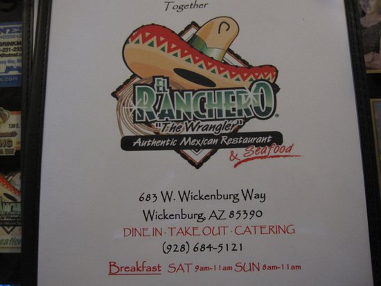 The Front Of The Menu Picture Of El Ranchero Restaurant