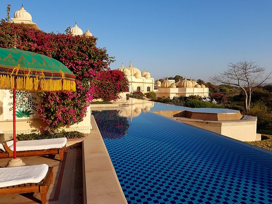 The Oberoi Udaivilas: Private patio with direct access to the pool (not heated)