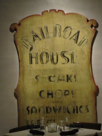 Marietta, PA: An old sign placed in one of the dining rooms. The private smaller one to the rear.