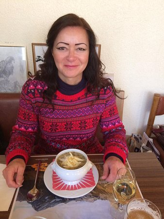 Chateau-d'Oex, Switzerland: My wife with a bowl of soup.