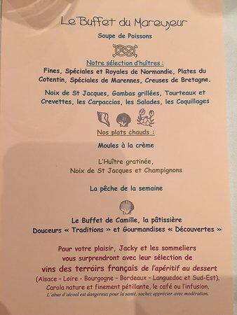 """Mollkirch, Frankreich: Menu """"Buffet du Mareyeur"""""""