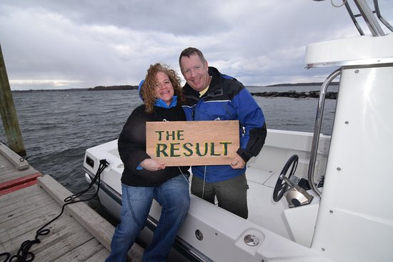 Chebeague Island, ME: Owners Kevin and Polly Wentworth on its maiden launch in 2016.