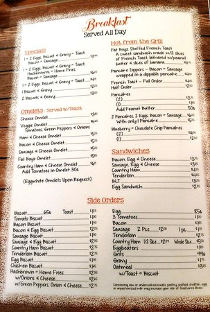 Greeneville, Τενεσί: Breakfast menu