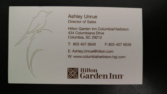 Hilton Garden Inn Columbia - Harbison : Ashley's contact info for business travelers