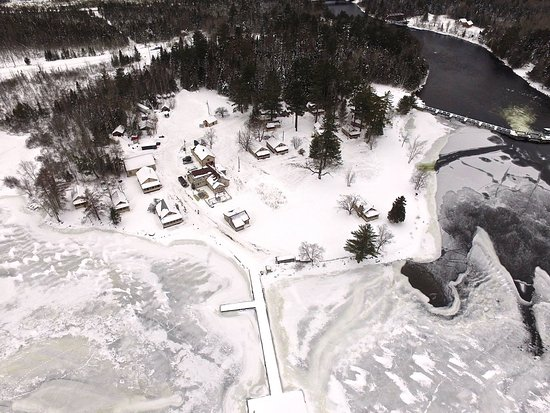 Wilsons on Moosehead Lake: An early winter aerial shot of the property