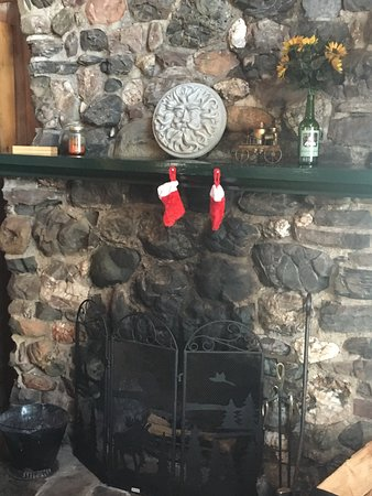 Wilsons on Moosehead Lake: Beautiful fieldstone fireplace in one of our lakefront cabins!