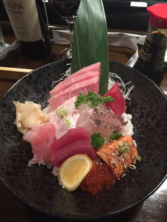 Chirashi which is a bowl of Sashimi on rice with Toro bump!