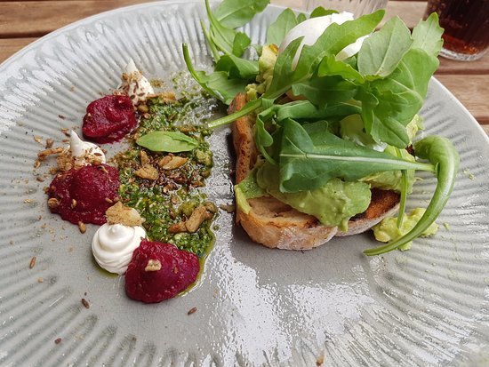 Corner Store Cafe: Smashed avocado with a poached egg, feta, and beetroot