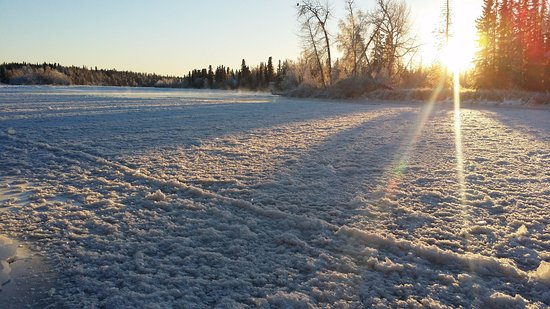 Kenai Riverfront Resort, Inc.: Here's the river frozen in December!