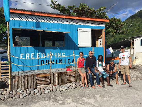 Scotts Head, Dominica: Frederic Buyle and Fabrice visiting Freediving Dominica, on their way to study whales in Dominic