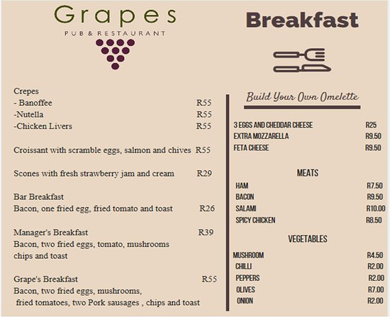 Benoni, Sudáfrica: YummY choices for Breakfast - open from 10h30