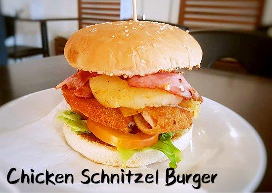Chicken Schnitzel Burger Bacon Cheese Pineapple Tomato Lettuce Picture Of Anna Li S Cafe Sydney Tripadvisor