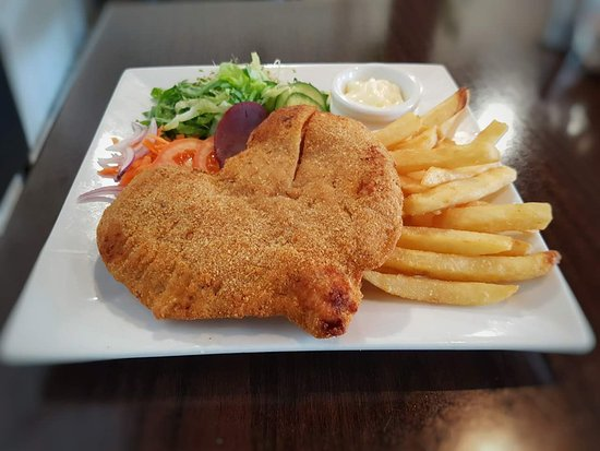 Chicken Schnitzel With Chips Salad Picture Of Anna Li S Cafe Sydney Tripadvisor