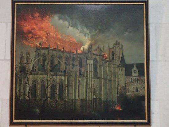 Cathédrale de Saint-Pierre et Saint-Paul : Cathedrale de Saint-Pierre et Saint-Paul - obraz požáru z roku 1972