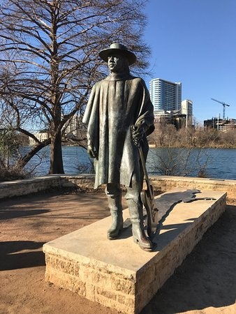 Stevie Ray Vaughan Statue: One of my heroes, Stevie Ray larger than life as always. Brass cast shadow has him playing, just