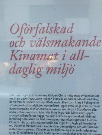 Golden China: Toppbetyg från lokaltidningen sitter i fönstret.