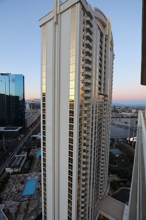 Signature at MGM Grand: Got out my big camera to take a photo from our balcony on tower 2 looking at tower 1. 26th floor