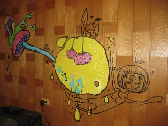 trippy art on the wall of our room - Picture of Roulan Lodge ...