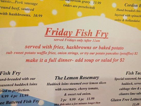 Slinger, WI: Fish Fry-love sweet potato fries, potato pancakes (potaffles)